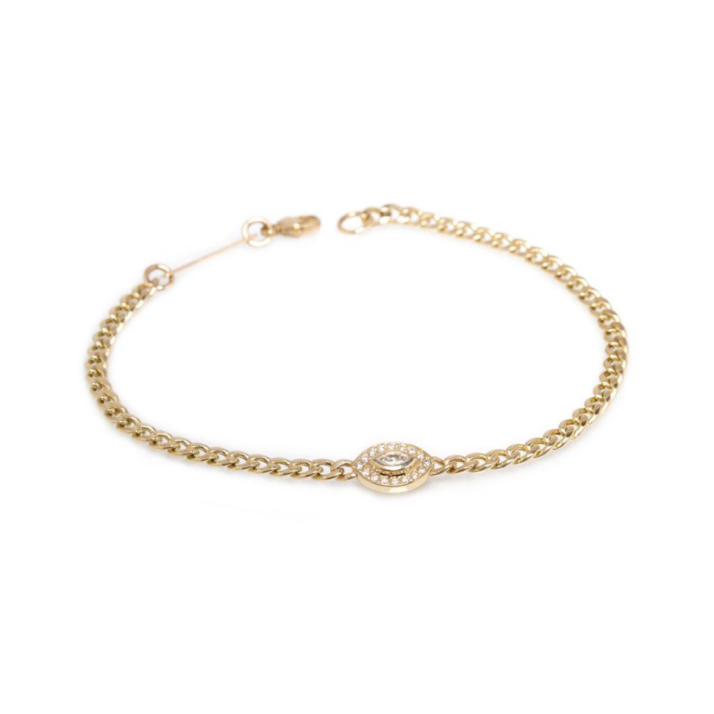 Linked Halo Bezel Diamond Bracelet
